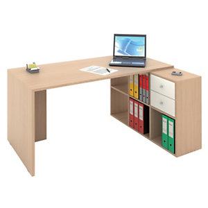 Multicolor Postazione lavoro scrivania + libreria a 6 caselle, Rovere