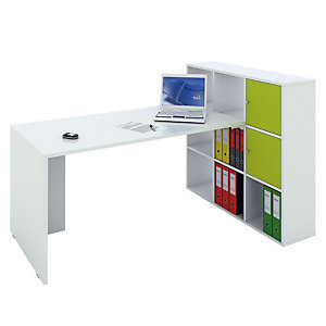 Multicolor Postazione lavoro scrivania + libreria a 9 caselle, Bianco