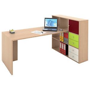 Multicolor Postazione lavoro scrivania + libreria a 9 caselle, Rovere