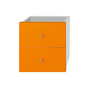 Multicolor Set 2 Cassetti e Retro, dimensioni 24 x 24 x 8,5 cm, Arancione