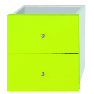 Multicolor Set 2 Cassetti e Retro, dimensioni 24 x 24 x 8,5 cm, Verde