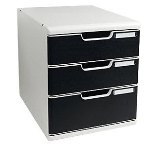 MULTIFORM Cassettiera Modulo A4 -  35x28,8x32 cm - 3 cassetti - grigio/nero - Multiform