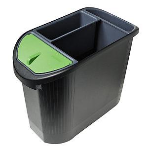 MULTIFORM corbeille à papier Top line Ecologic 26 l ovale, tri sélectif 3 compartiments- Noir/Anthracite
