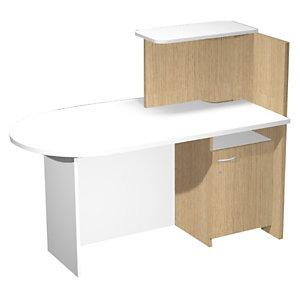 Multitask Postazione bancone sinistro, Rovere e Bianco, 142,5 x 83 x 117,2 cm