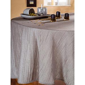 Nappe tissu Taffetas plissé argent, ronde Ø 1,80 m