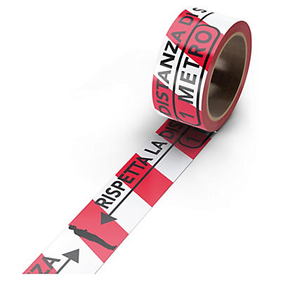 Nastro adesivo in PVC mantieni distanza di sicurezza 1m