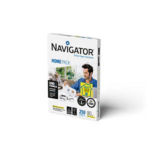 Navigator Carta Home Pack A4 per fotocopie a colori, stampe laser e inkjet, 80 g/m², Bianco (risma 250 fogli)