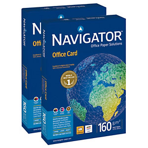 Navigator Office Card Carta multiuso A4 per Fax, Fotocopiatrici, Stampanti Laser e Inkjet, 160 g/m², Bianco (confezione 250 fogli)