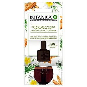 Navulling voor parfumverspreider Botanica, vetiver en sandelhout parfum, flesje van 19 ml