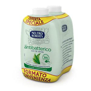 NEUTRO ROBERTS Ricarica per Sapone Liquido Antibatterico Delicato al Tè Verde, 2 Flaconi da 200 ml (confezione 2 pezzi)