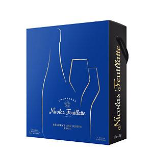 NICOLAS FEUILLATTE Champagne Brut Réserve Exclusive, coffret cadeau avec 2 flûtes - Bouteille de 75 cl