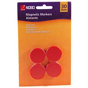 Nobo Magnete per lavagna, Capacità di tenuta 10 fogli, 30 mm, Rotondo, Colori assortiti