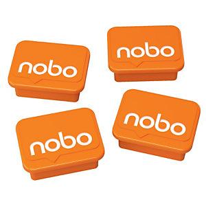 Nobo Magneti in plastica per lavagna, Arancione, 18 x 22 mm (confezione 4 pezzi)