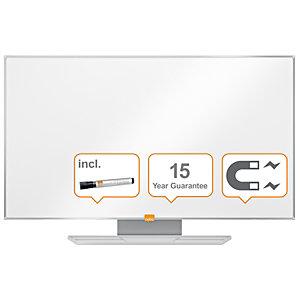 Nobo Tableau blanc mural en acier laqué magnétique Nano Clean™, format 16/9 avec cadre en aluminium 6 mm, 90x50 cm, blanc