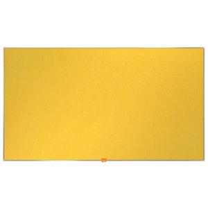 Nobo Tablón de fieltro, formato panorámico, marco de aluminio, 1229 x 698 mm, amarillo