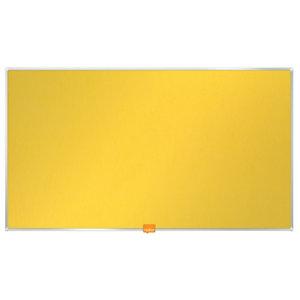Nobo Tablón de fieltro, formato panorámico, marco de aluminio, 721 x 411 mm, amarillo