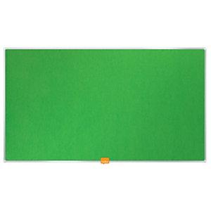 Nobo Tablón de fieltro, formato panorámico, marco de aluminio, 721 x 411 mm, verde