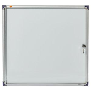 Nobo Vitrina de interior extraplana con puerta batiente y fondo metálico 6 hojas A4