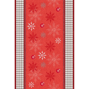 Non-woven tafelloper op rol van 0,40 x 10 m, dessin van rode vlokken
