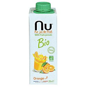 NU 100% Pur jus d'oranges pressées bio - Brique de 20 cl