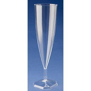 NUPIK Copas flauta de champán de plástico desechables de gran calidad en color plata de 140ml 180mm, paquete de 6