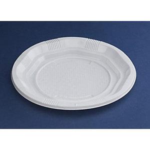 NUPIK Platos de plástico desechables octagonales de poliestireno blancos 205mm, paquete de 25