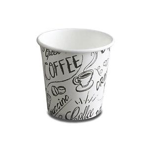 NUPIK Vasos de papel desechables con diseño de café, 120 ml, 63 x 61 mm, paquete de 50