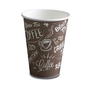 NUPIK Vasos de papel desechables marrones con diseño de café, 220 ml, 71 x 90 mm, paquete de 50