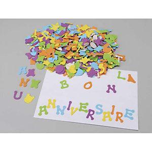 O'COLOR O COLOR Sachet de 405 lettres en caoutchouc adhésif, hauteur 3cm, 5 couleurs assorties