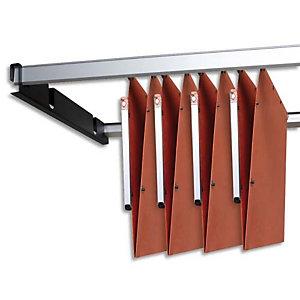 L'OBLIQUE AZ OBLIQUE AZ Jeu de 2 rails métal gris avec support Noir pour dossiers suspendus armoire