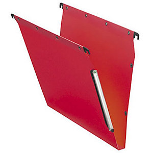 L'oblique Dossier suspendu  PP Ultimate pour Armoires - en Polypropylène - Boutons-pression - Fond U 15 mm - Rouge opaque