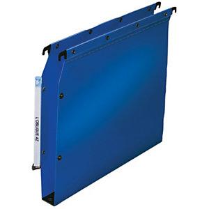 L'oblique Dossier suspendu  PP Ultimate pour Armoires - en Polypropylène - Boutons-pression - Fond U 30 mm - Bleu opaque