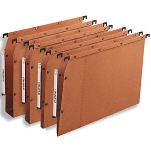 L'oblique Dossier suspendu  Ultimate® pour Armoires - en Kraft - Boutons-pression - Fond U 15 mm - Orange