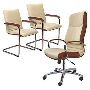 OFFERTA POLTRONA NOEMI FASHION: 1 poltrona Presidenziale + 1coppia sedie attesa colore panna-cuoio
