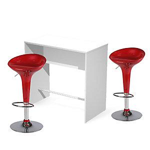 Offerta Risparmio Area Ristoro Bancone alto bianco + coppia sgabelli bar rossi
