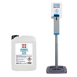 Offerta Risparmio Colonna con dispenser a gomito per gel igienizzante mani + Tanica 5 kg Gel igienizzante mani ALCOGEL % alcol >70% (vol)