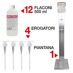 Offerta Risparmio Piantana universale Laif per igienizzante e guanti + 1 confezione da 12 flaconi Gel Idroalcolico Antisettico mani Simply Gel con 4 erogatori