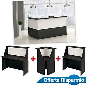 Offerta Risparmio Reception Oasi, 1 Bancone 120 cm + 1 Bancone 80 cm + 1 Modulo angolare, Nero venato/Bianco