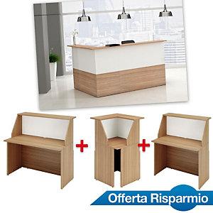 Offerta Risparmio Reception Oasi, 1 Bancone 120 cm + 1 Bancone 80 cm + 1 Modulo angolare, Noce castagno/Bianco