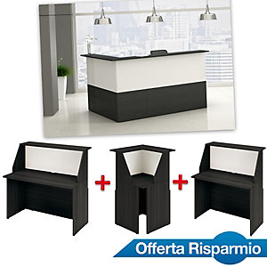 Offerta Risparmio Reception Oasi, 1 Bancone 140 cm + 1 Bancone 80 cm + 1 Modulo angolare, Nero venato/Bianco