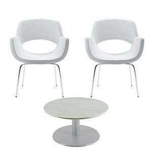 """Offerta Risparmio Sala d'attesa completa Tavolino basso bianco + 2 poltrocine """"Tango"""" bianche"""
