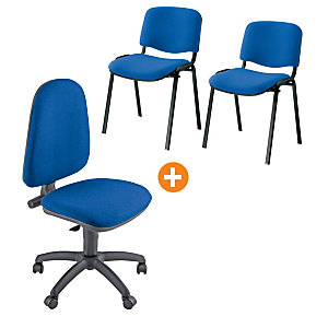 "Offerta sedia ""Swing"" + coppia sedie attesa impilabili colore blu"