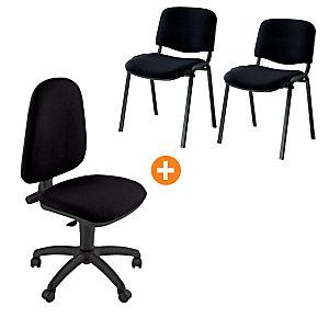 "Offerta sedia ""Swing"" + coppia sedie attesa impilabili colore nero"