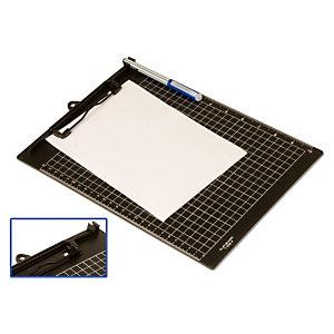 office box Tabla reglada con pinza portapapeles, A4, cuadriculada, soporte para bolígrafo, plástico, negro