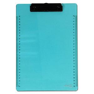 office box Tabla reglada con pinza portapapeles, A4, plástico, azul neón translúcido