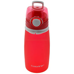 OFFICE Colorline Botella de agua plegable, válvula antifugas, rojo, 550 ml