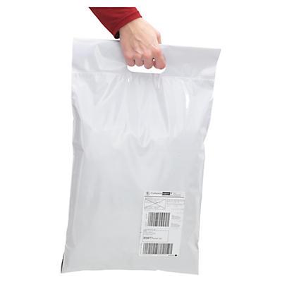 "Pochette plastique opaque avec fermeture ""aller-retour"" et poignée##Ondoorzichtige plastic envelop met retoursluiting en handgreep"
