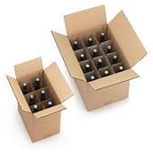 One piece bottle boxes with integral dividers