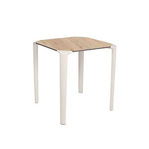 One Table empilable de restauration carrée 70 x 70 cm Usage extérieur - Blanc/Chêne