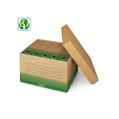 Caisse multi-usages en carton recyclé##Opbergdoos met geïntegreerd deksel en handgrepen
